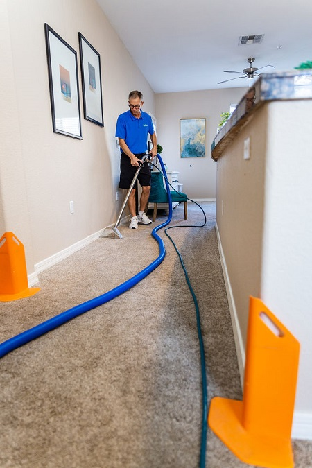 Technician cleaning carpet with hoses and corner (wall) protectors