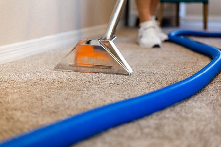 Closeup photo of carpet being cleaned with steam wand, hoses, and technicians feet