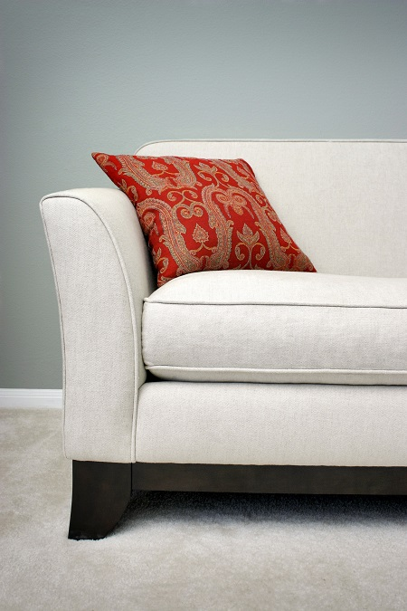 Clean white sofa after being protected with fabric protectant
